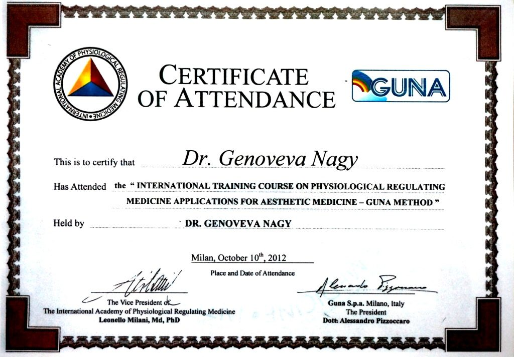 Doctor Genoveva Nagy Diploma Curs International Produse Guna