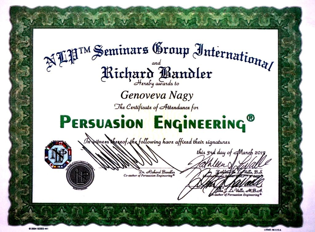 Doctor Genoveva Nagy Diploma Ingineria Persuasiunii