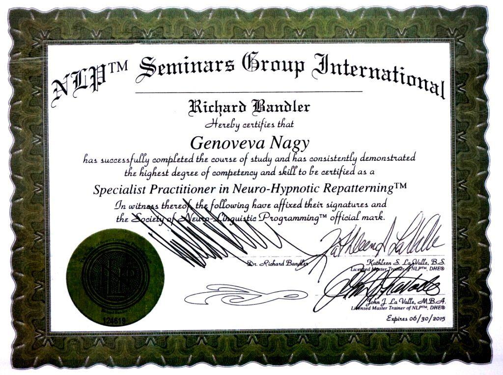 Doctor Genoveva Nagy Diploma Neuro Hipnotic Repatterning
