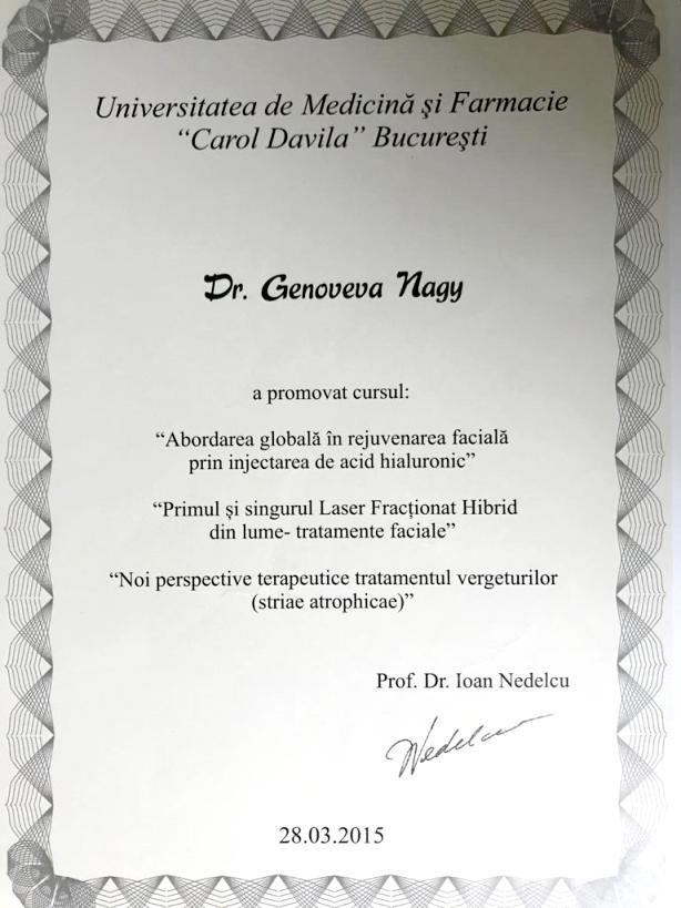 Diploma Doctor Genoveva Nagy - Bucuresti 2015