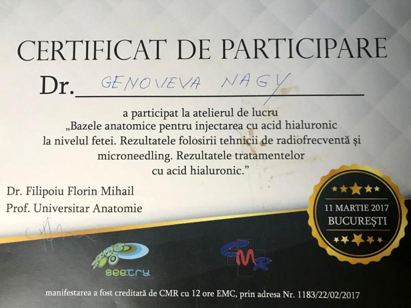 Diploma Doctor Genoveva Nagy - Bucuresti mart 2017