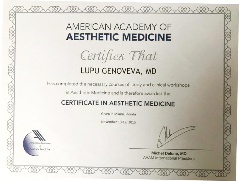 Diploma Doctor Genoveva Nagy - Miami 2015