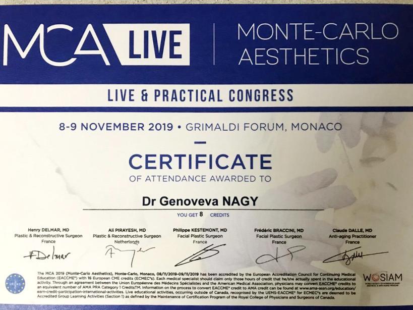 Diploma Doctor Genoveva Nagy - Monaco nov 2018
