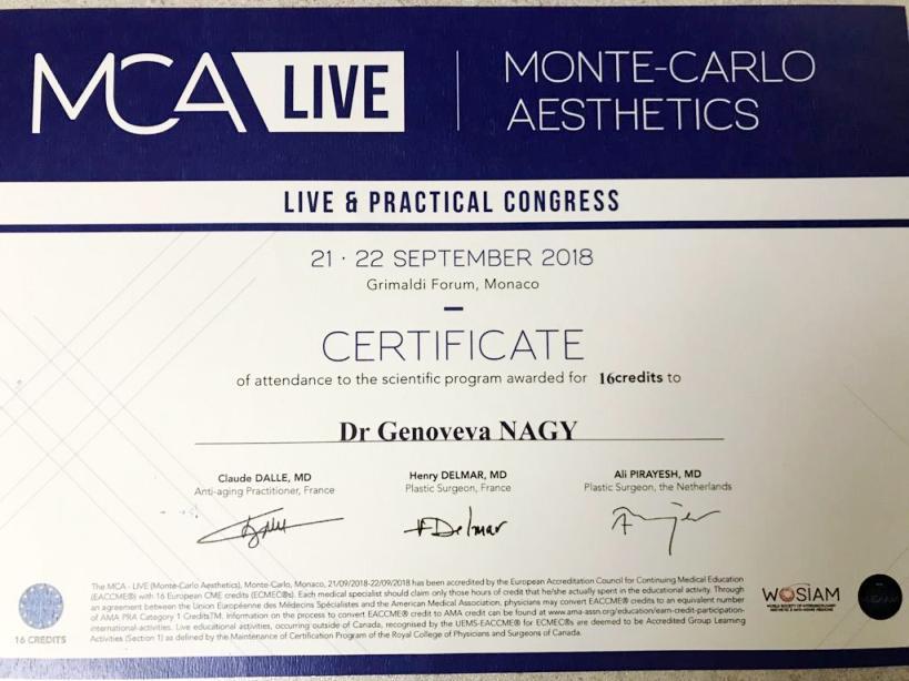 Diploma Doctor Genoveva Nagy - Monaco sept 2018