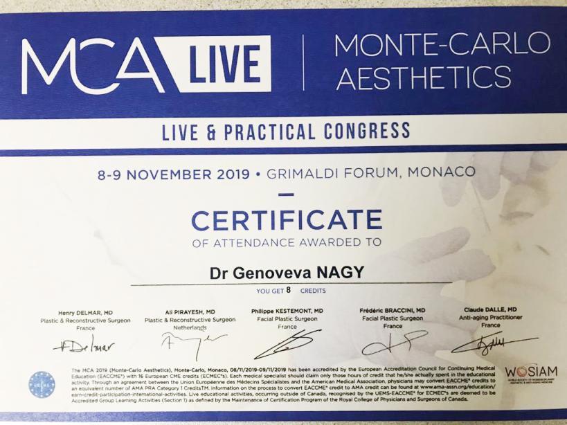 Diploma Doctor Genoveva Nagy - Monte Carlo 2019