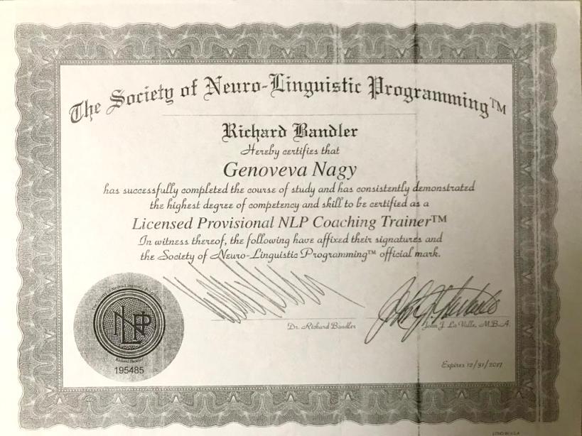 Diploma Doctor Genoveva Nagy - NLP 2017
